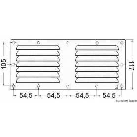 Stainless steel ventilation grill 128 x 232 mm