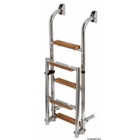 Roestvrij stalen ladder/5-hout stappen