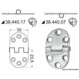 Recessed stainless steel hinge 47 x 30 mm