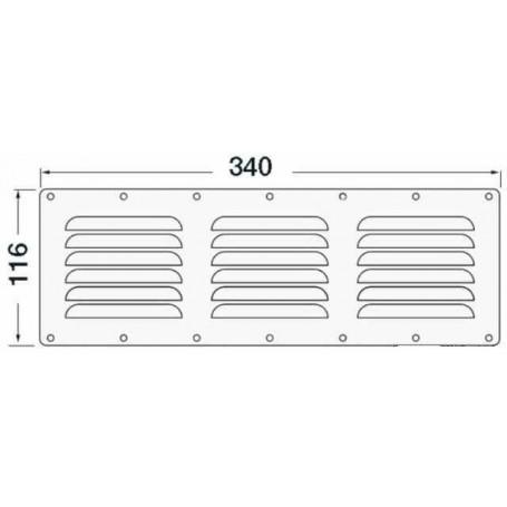Grid ventilation rectangular 116x340mm
