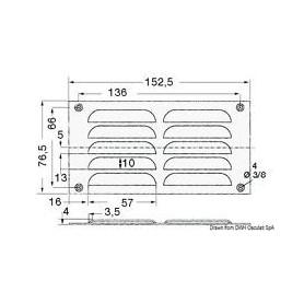 Istrujna rešetka pravokutni 76x152mm