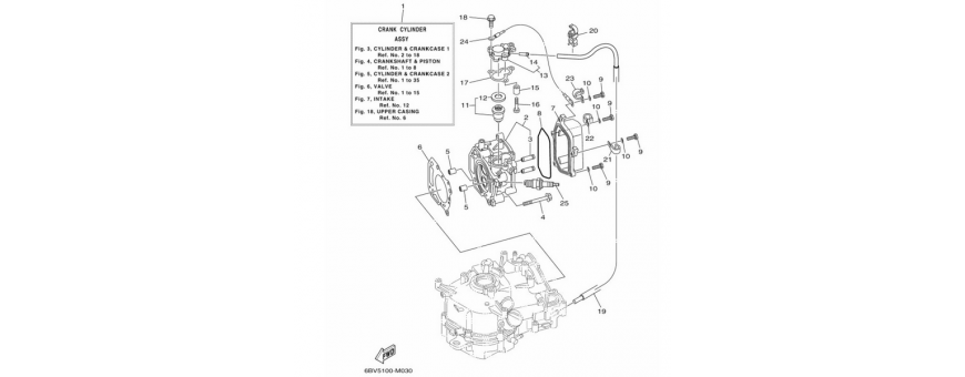 The cylinder and the crankcase 1 F4B-F5A-F6C