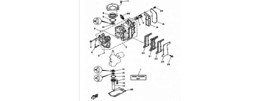The cylinder and crankcase 6C-6D-8C