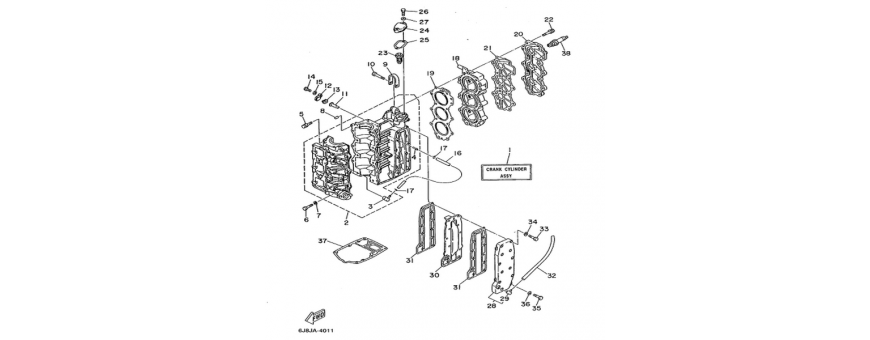 The cylinder and crankcase 25J-30D