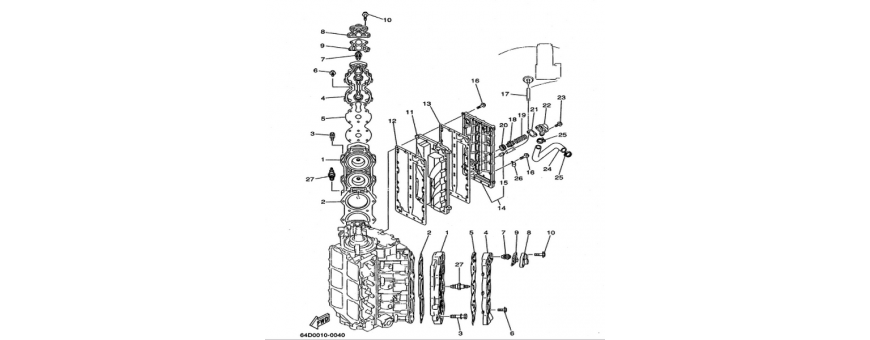 The cylinder and the crankcase 2 150F-175D-200F