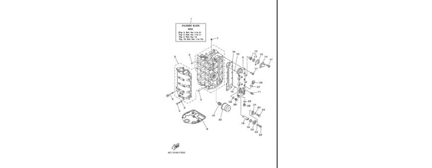 The engine block 1 F40D-F50F-F60C